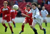 25th May 2015..... Rochestown Colleges Ray O'Halloran and CBC's Charlie Cremin tussle for the ball during the Cork schools under 14 soccer final at Turners Cross yesterday Picture: Eddie O'Hare