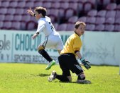 25th May 2015..... Rochestown Colleges Fionn Duggan turns to celebrate his winning goal from CBC's goalkeeper Eoghan Deasy during the Cork schools under 14 soccer final at Turners Cross yesterday Picture: Eddie O'Hare