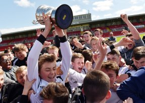 25th May 2015..... Rochestown Colleges captain David Sloane raises the trophy after defeating CBC in the Cork schools under 14 soccer final at Turners Cross yesterday Picture: Eddie O'Hare