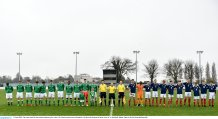 12 April 2018; The teams stand for the national anthems prior to the U18s Schools match between Republic of Ireland and Scotland at Home Farm FC in Whitehall, Dublin. Photo by David Fitzgerald/Sportsfile